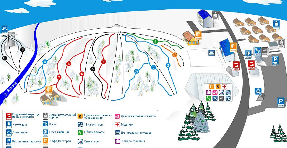 """Карта трасс курорта """"Сорочаны"""""""""""